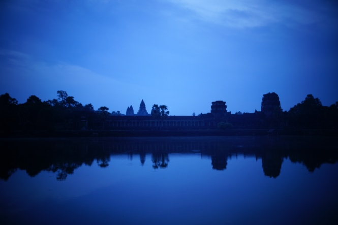 The view of Angkor Wat from outside of the main entrance