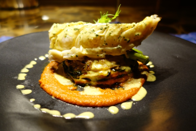 Amazing - crab lasagne topped with a locally caught lobster